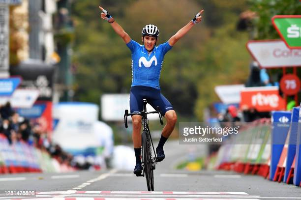 Arrival / Marc Soler Gimenez of Spain and Movistar Team / Celebration / during the 75th Tour of Spain 2020 Stage 2 a 1516km stage from Pamplona to...