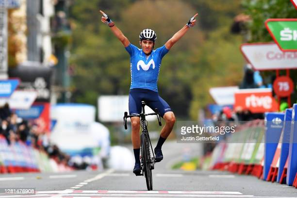 Arrival / Marc Soler Gimenez of Spain and Movistar Team / Celebration / during the 75th Tour of Spain 2020, Stage 2 a 151,6km stage from Pamplona to...