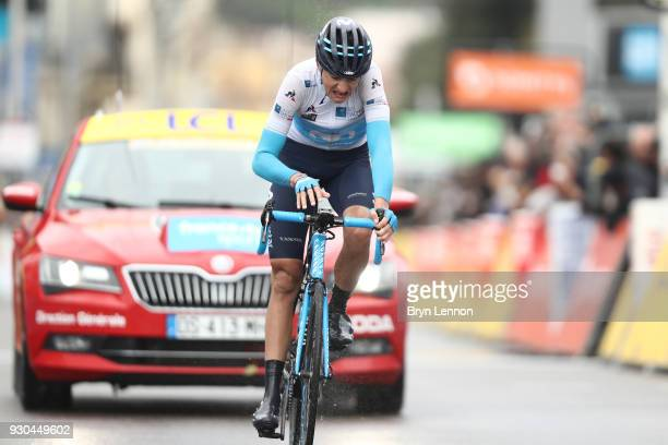 Arrival / Marc Soler White Best Young Rider Jersey of Spain and Movistar Team during the 76th Paris Nice 2018 Stage 8 a 110km stage from Nice to Nice...