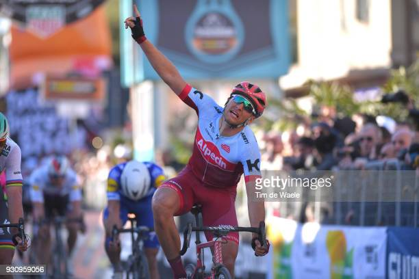 Arrival / Marcel Kittel of Germany Celebration / during the 53rd TirrenoAdriatico 2018 Stage 6 a 153km stage from Numana to Fano on March 12 2018 in...