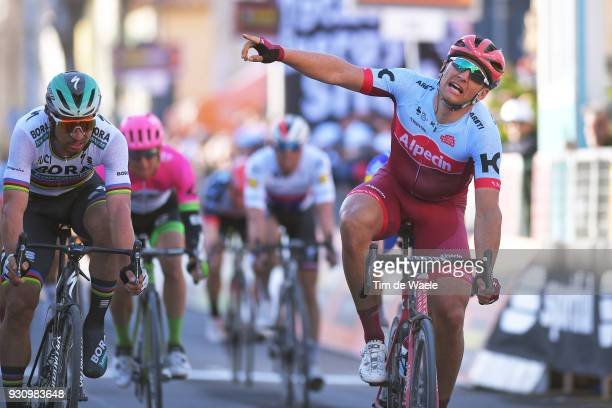 Arrival / Marcel Kittel of Germany Celebration Peter Sagan of Slovakia during the 53rd TirrenoAdriatico 2018 Stage 6 a 153km stage from Numana to...