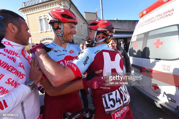 Arrival / Marcel Kittel of Germany / Nathan Haas of Australia / Celebration / during the 53rd TirrenoAdriatico 2018 Stage 6 a 153km stage from Numana...