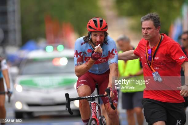 Arrival / Marco Haller of Austria and Team KatushaAlpecin / Dag Van Elslande of Belgium Doctor of Team KatushaAlpecin / Injury / Crash / during the...