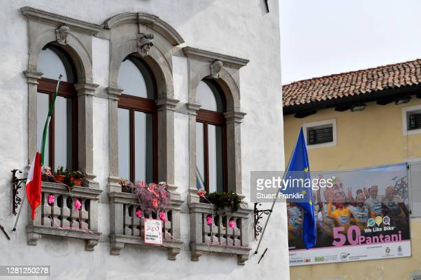 Arrival / Marco Pantani of Italy Ex- Pro-rider / San Daniele Del Friuli Village / Italian Flag / Fans / Public / Detail view / during the 103rd Giro...