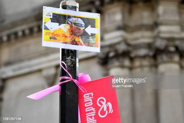 Arrival / Marco Pantani of Italy Ex- Pro-rider / San Daniele Del Friuli Village / Fans / Public / Detail view / during the 103rd Giro d'Italia 2020,...