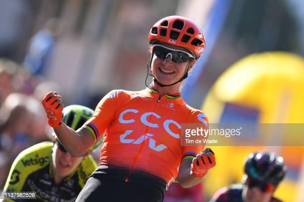 Arrival / Marianne Vos of The Netherlands and Team CCC - Liv / Celebration / during the 44th Trofeo Alfredo Binda-Comune di Cittiglio 2019, Women a...