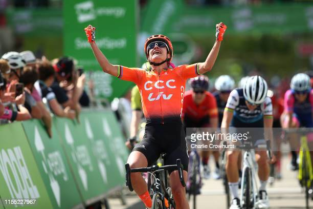 Arrival / Marianne Vos of The Netherlands and Team CCC - Liv / Celebration / Lizzie Elizabeth Armitstead-Deignan of United Kingdom and Team Trek -...