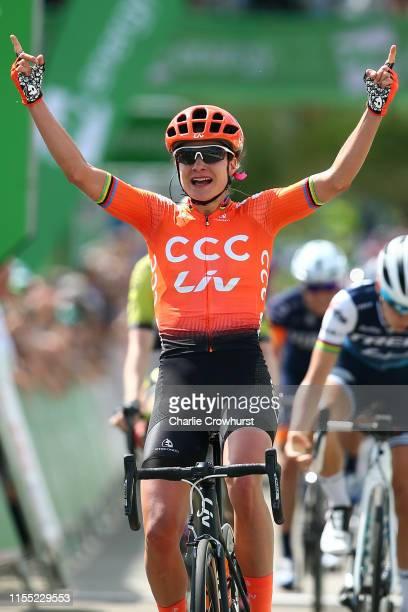 Arrival / Marianne Vos of The Netherlands and Team CCC - Liv / Celebration / during the 6th OVO Energy Women's Tour 2019, Stage 2 a 62,5km stage from...