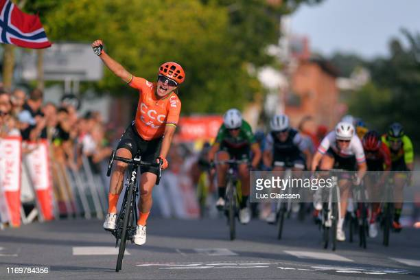 Arrival / Marianne Vos of The Netherlands and Team CCC - Liv / Celebration / Alice Barnes of The United Kingdon and Team Canyon Sram Racing / Marta...