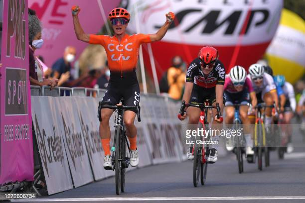 Arrival / Marianne Vos of The Netherlands and Team CCC - Liv / Celebration / Lotte Kopecky of Belgium and Team Lotto Soudal Ladies / during the 31st...