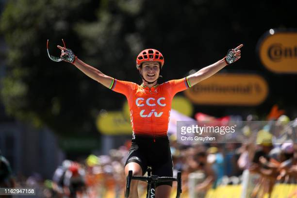 Arrival / Marianne Vos of The Netherlands and Team CCC-Liv / Celebration / during the 6th La Course 2019, by Le Tour de France a 121km stage from Pau...