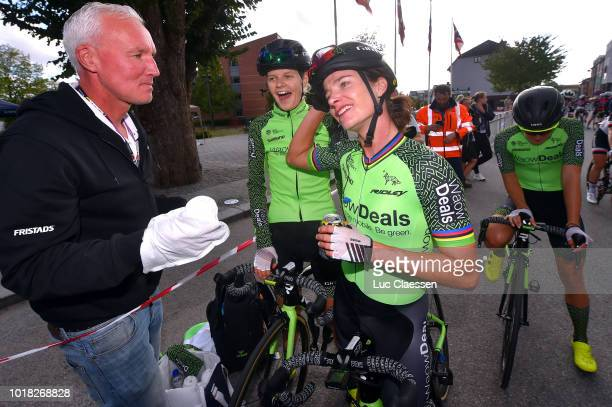 Arrival / Marianne Vos of The Netherlands and Team WaowDeals Pro Cycling / Jeanne Korevaar of Netherlands and Team WaowDeals Pro Cycling / Soigneur /...