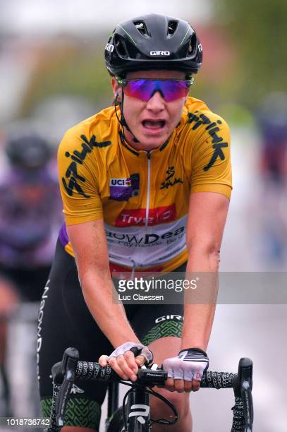Arrival / Marianne Vos of The Netherlands and Team WaowDeals Pro Cycling Yellow Leader Jersey / Celebration / during the 4th Ladies Tour of Norway...