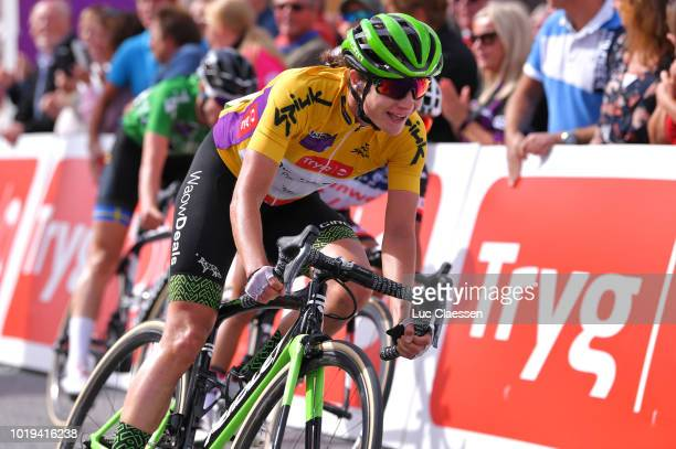 Arrival / Marianne Vos of The Netherlands and Team WaowDeals Pro Cycling Yellow leaders jersey / during the 4th Ladies Tour of Norway 2018, Stage 3 a...
