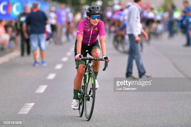 Arrival / Marianne Vos of The Netherlands and Waowdeals Pro Cycling Team /UCI World Tour leaders jersey/ during the 20th Grand Prix De Plouay Lorient...
