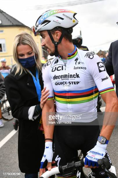 Arrival / Marion Rousse of France Girlfriend - Ex-Pro rider-TV Journalist / Girlfriend / Julian Alaphilippe of France and Team Deceuninck -...