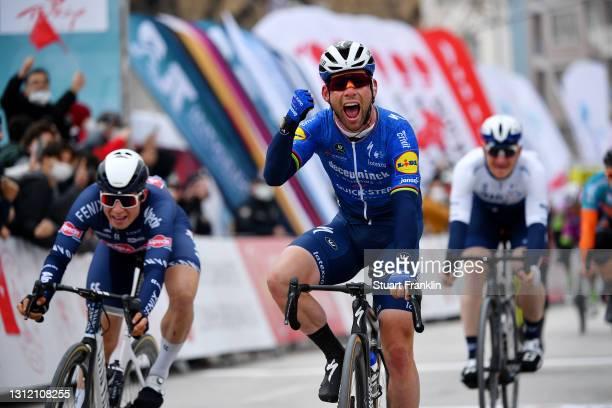 Arrival / Mark Cavendish of United Kingdom and Team Deceuninck - Quick-Step Celebration, Jasper Philipsen of Belgium and Team Alpecin-Fenix & AndrŽe...