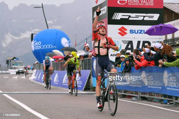 Arrival / Mark Padun of Ukraine and Team Bahrain-Merida / Celebration / Dayer Quintana of Colombia and Team Neri Sottoli–Selle Italia–KTM / Ben...