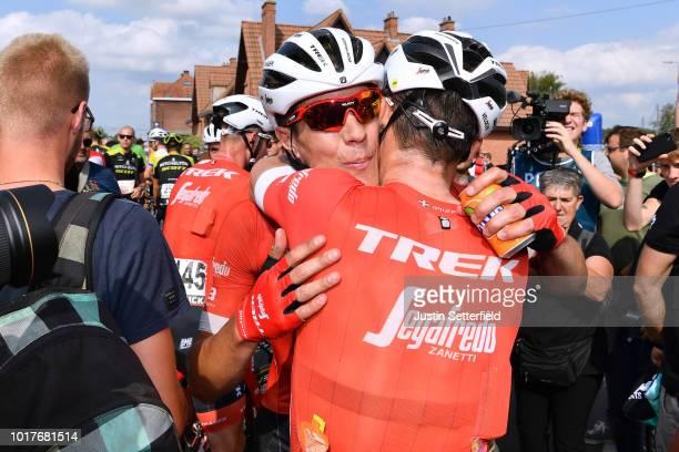 Arrival / Markel Irizar Aranburu of Spain and Team Trek-Segafredo / Jasper Stuyven of Belgium and Team Trek-Segafredo / Celebration / during the 14th...