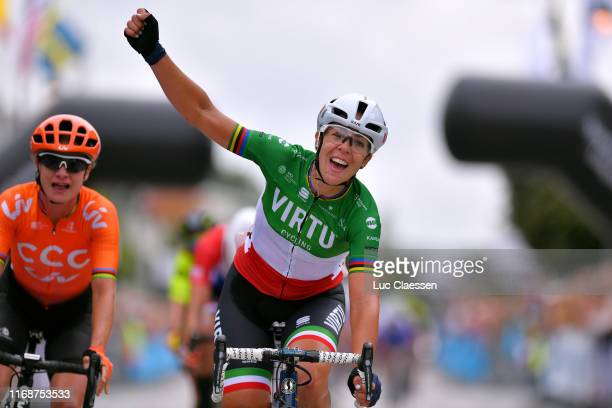 Arrival / Marta Bastianelli of Italy and Team Virtu Cycling / Celebration / Marianne Vos of The Netherlands and Team CCC - Liv / during the 14th...