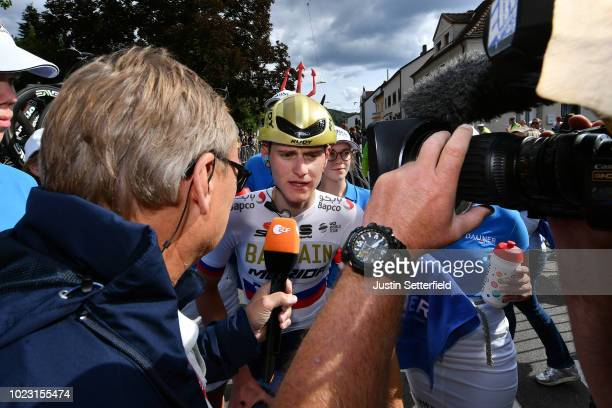 Arrival / Matej Mohoric of Slovenia and Bahrain Merida Pro Team Celebration / Interview / during the 33rd Deutschland Tour 2018, Stage 3 a 177km from...