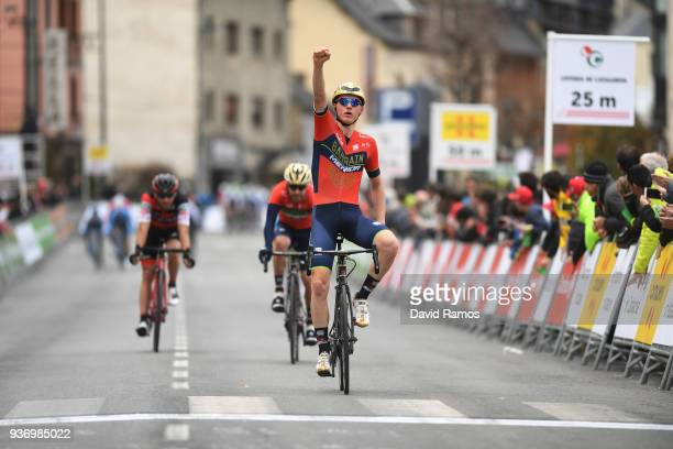 Arrival / Matej Mohoric of Slovenia and Bahrain-Merida / Celebration / during the Volta Ciclista a Catalunya 2018, Stage 5 a 212,9km stage from...