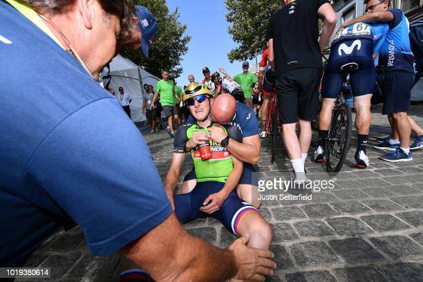 Arrival / Matej Mohoric of Slovenia and Team Bahrain - Merida Green Leader Jersey / Celebration / during the 14th BinckBank Tour 2018, Stage 7 a...