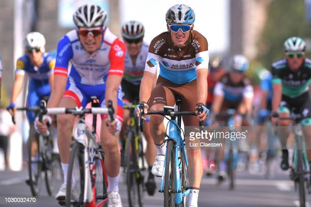Arrival / Mathias Frank of Switzerland and Team AG2R La Mondiale / during the 9th Grand Prix Cycliste de Montreal 2018 a 1952km race from Montreal to...