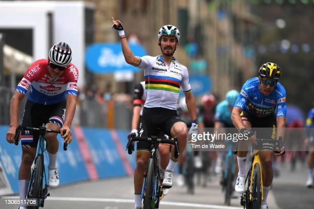 Arrival / Mathieu Van Der Poel of Netherlands and Team Alpecin-Fenix, Julian Alaphilippe of France and Team Deceuninck - Quick-Step Celebration &...