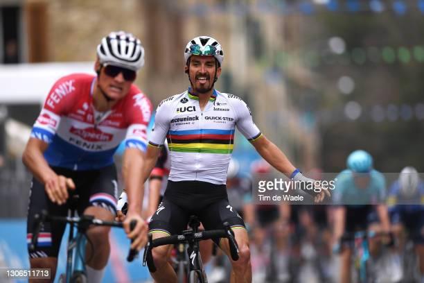 Arrival / Mathieu Van Der Poel of Netherlands and Team Alpecin-Fenix & Julian Alaphilippe of France and Team Deceuninck - Quick-Step Celebration,...