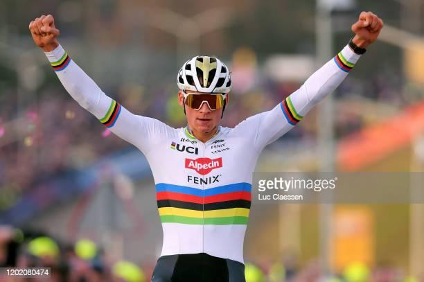 Arrival / Mathieu Van Der Poel of The Netherlands and Alpecin-Fenix Team / Celebration / during the 31st WC GP Adrie Van der Poel Hoogerheide 2020,...
