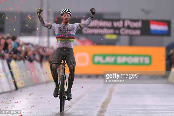Arrival / Mathieu Van Der Poel of The Netherlands and and Team Corendon - Circus UCI Cyclo-cross Rainbow World Champion Jersey / Celebration / during...