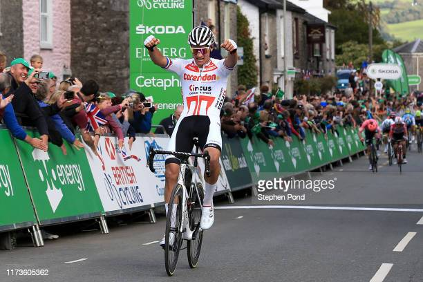 Arrival / Mathieu van der Poel of The Netherlands and Corendon Circus Cycling Team / Celebration / Jasper De Buyst of Belgium and Team Lotto Soudal /...