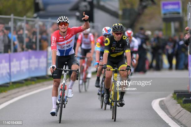 Arrival / Mathieu van der Poel of The Netherlands and Team Corendon-Circus / Celebration / Anthony Turgis of France and Team Direct Energie / Bob...