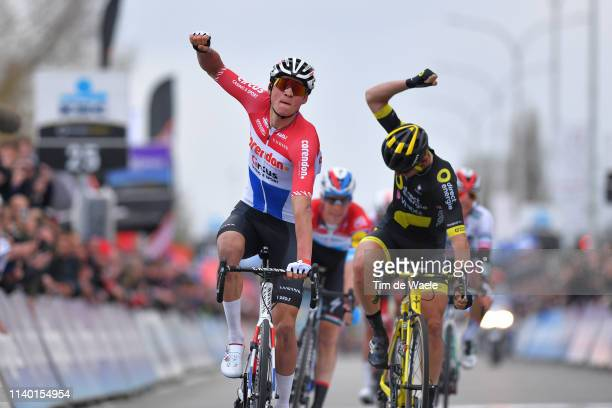 Arrival / Mathieu van der Poel of The Netherlands and Team Corendon-Circus Celebration / Anthony Turgis of France and Team Direct Energie...