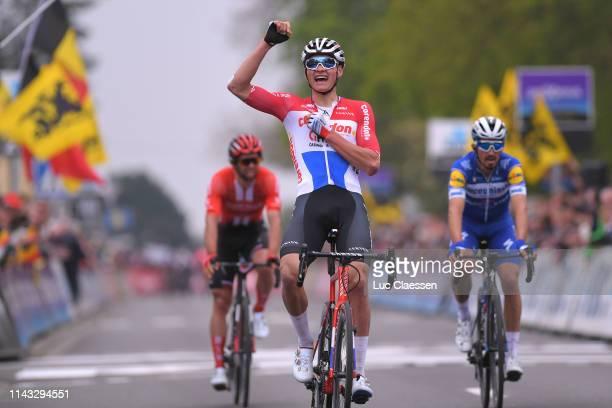 Arrival / Mathieu van der Poel of The Netherlands and Team Corendon - Circus Celebration / Michael Matthews of Australia and Team Sunweb / Julian...