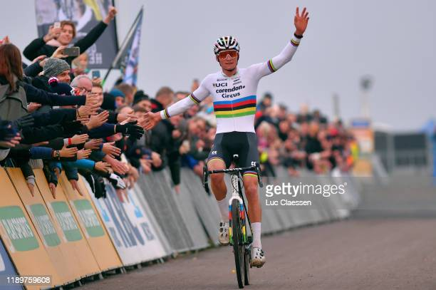 Arrival / Mathieu Van Der Poel of The Netherlands and Team Corendon - Circus / Celebration / Public / Fans / during the 49th Koksijde World Cup 2019,...