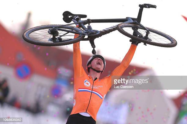 Arrival / Mathieu Van Der Poel of The Netherlands and Team The Netherlands / Celebration / during the 70th Cyclocross World Championships Bogense...