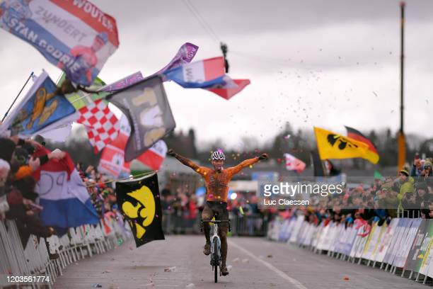 Arrival / Mathieu Van Der Poel of The Netherlands / Celebration / Canyon Bike / Mud / Public / Fans / Flag / during the 71st Cyclocross World...