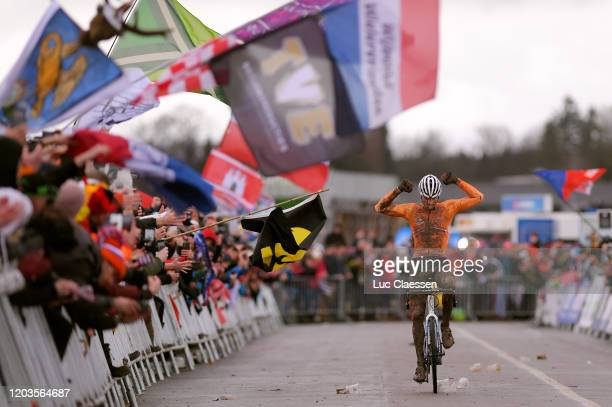 Arrival / Mathieu Van Der Poel of The Netherlands / Celebration / Canyon Bike / Mud / during the 71st Cyclocross World Championships Dübendorf 2020 -...