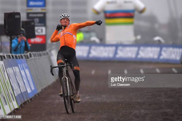 Arrival / Mathieu Van Der Poel of The Netherlands / Celebration / during the 72nd UCI Cyclo-Cross World Championships Oostende 2021, Men Elite /...