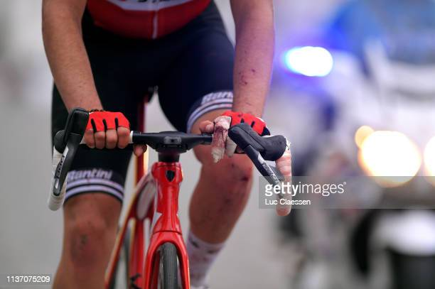 Arrival / Matteo Moschetti of Italy and Team Trek-Segafredo / Crash / Injury /during the 74th Nokere Koerse - Danilith Classic 2019 a 195,6km race...