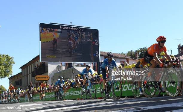 Arrival / Matteo Trentin of Italy and CCC Team / Jose Joaquin Rojas Gil of Spain and Movistar Team / Carlos Verona Quintanilla of Spain and Movistar...