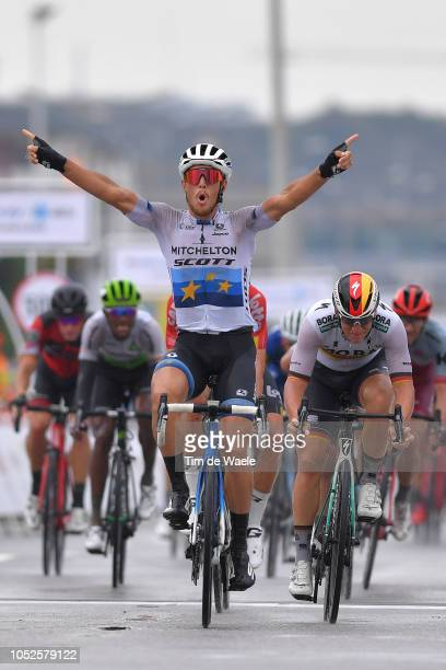 Arrival / Matteo Trentin of Italy and Team Mitchelton-Scott Celebration / Pascal Ackermann of Germany and Team Bora-Hansgrohe / during the 2nd Tour...