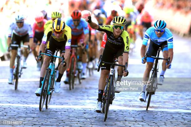 Arrival / Matteo Trentin of Italy and Team Mitchelton-SCOTT / Celebration / Jasper De Buyst of Belgium and Team Lotto Soudal / Mike Teunissen of The...