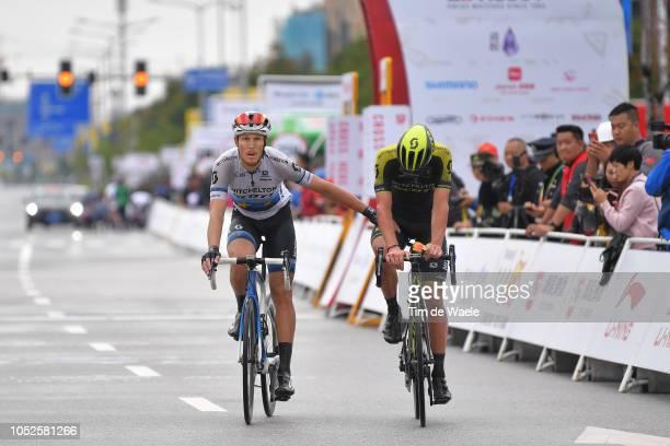Arrival / Matteo Trentin of Italy and Team Mitchelton-Scott / Luka Mezgec of Slovenia and Team Mitchelton-Scott Crash / Celebration / during the 2nd...