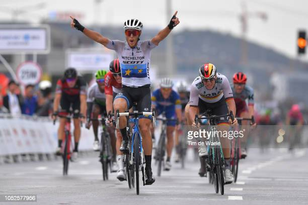 Arrival / Matteo Trentin of Italy and Team Mitchelton-Scott / Pascal Ackermann of Germany and Team Bora-Hansgrohe / during the 2nd Tour Of Guangxi...