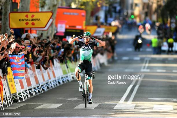 Arrival / Maximilian Schachmann of Germany and Team Bora - Hansgrohe / Celebration / during the 99th Volta Ciclista a Catalunya 2019, Stage 5 a...