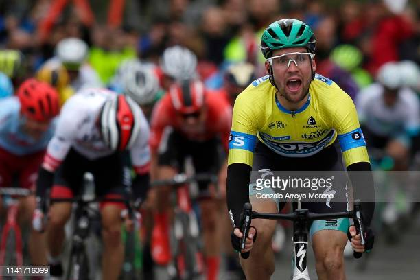 Arrival / Maximilian Schachmann of Germany and Team Bora - Hansgrohe Yellow Leader Jersey / Celebration / Diego Ulissi of Italy and UAE Team Emirates...