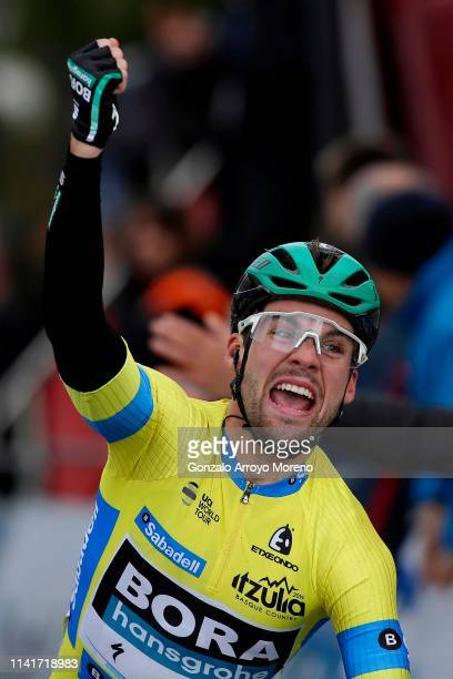 Arrival / Maximilian Schachmann of Germany and Team Bora - Hansgrohe Yellow Leader Jersey / Celebration / during the 59th Itzulia-Vuelta Ciclista...